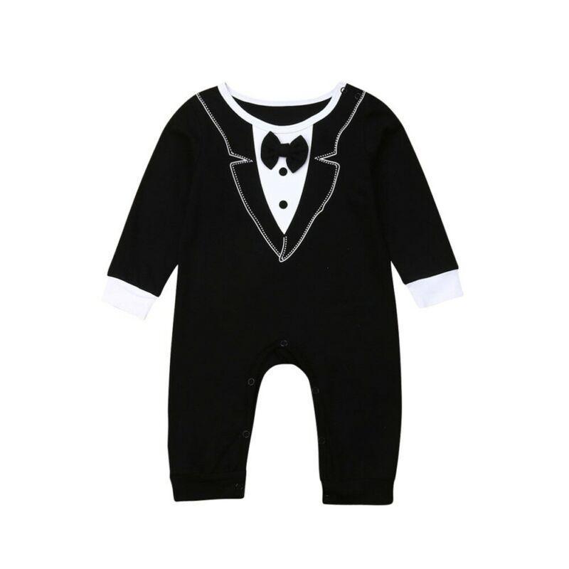 Formal neugeborene Baby-Partei-Hochzeit-Bogen-Spielanzug Bodysuit-Overall-Kleidung Art und Weise eleganter Kleinkind-Junge Schwarz Body Tops 0-18M