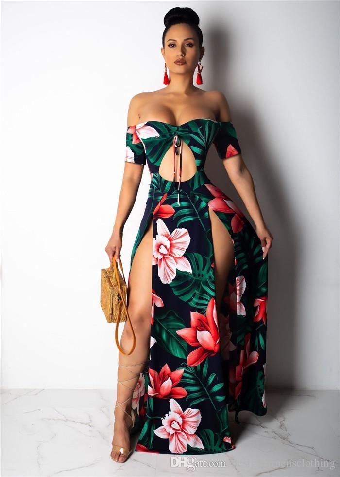 Sexy Summer de Split Slash Neck bretelles femmes robe de mode taille évider asymétrique Flord Imprimer Robe