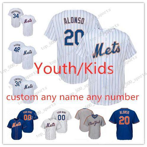 Youth Pete Alonso Jersey Kids Jacob Degrad Noah Syndergaard Michael Conforto Amed Rosario Baseball Jerseys 소년 맞춤형 모든 이름 Stitche