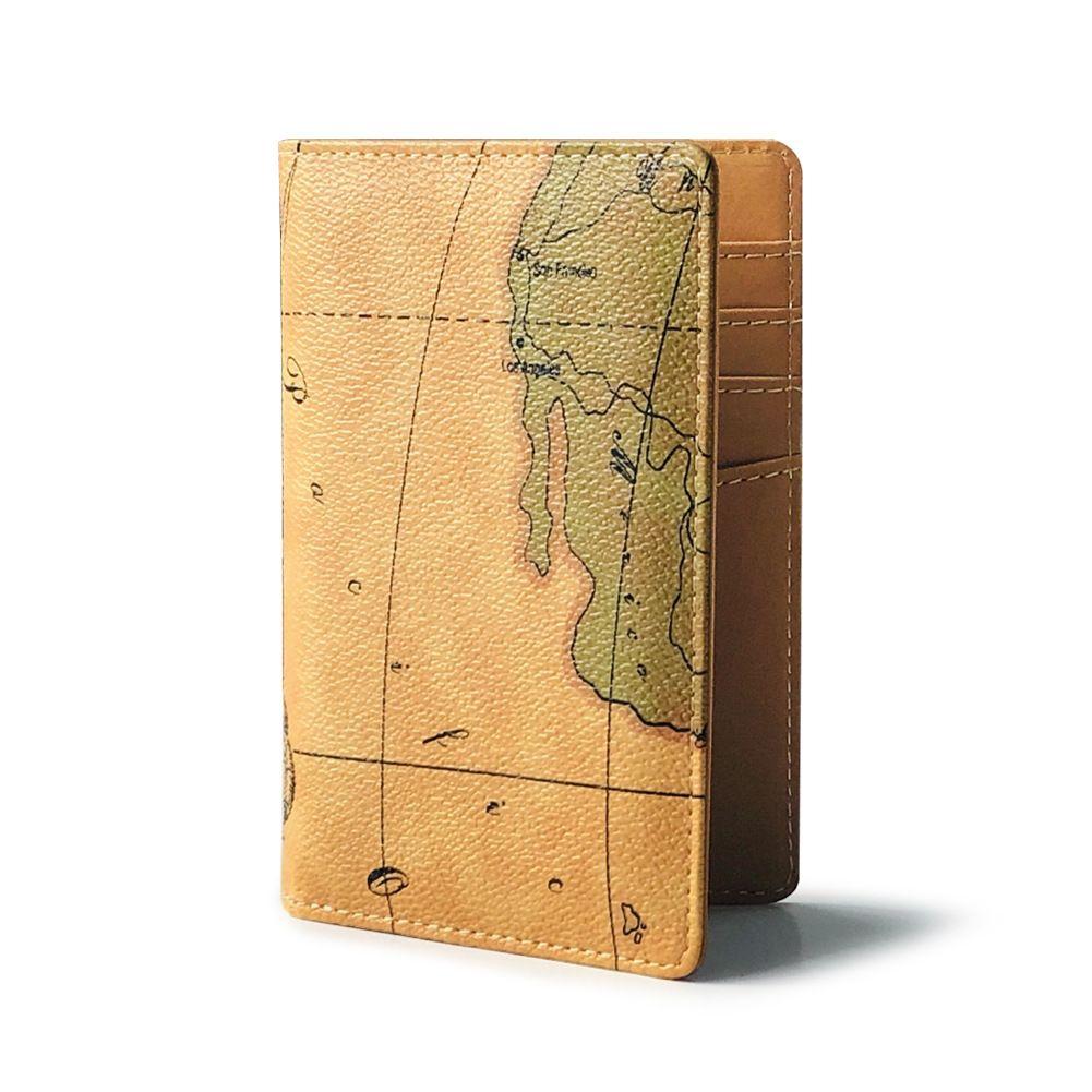 Map Color Design Passport Holder Cover Case - Leather RFID Blocking Slim ID Card Case Clutch Travel Wallet Credit Card Holder For Women Men