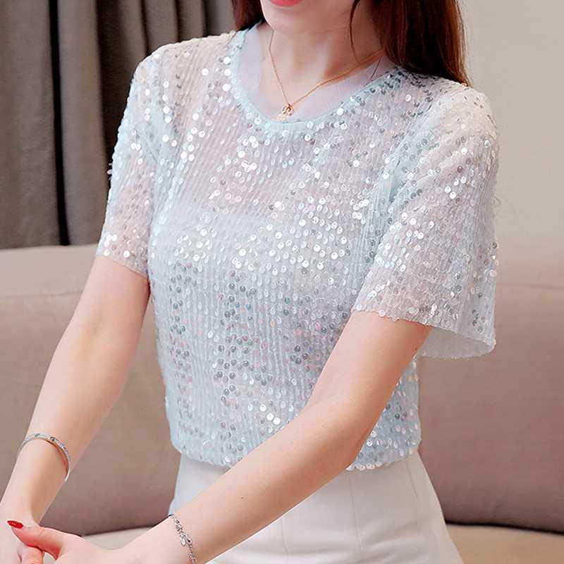 Frauen Tops O Ansatz Blousa 2020 Sommer-neue Sequined Shortsleeved Blusen Shirts Camisas Mujer koreanische Mode Kleidung 791i