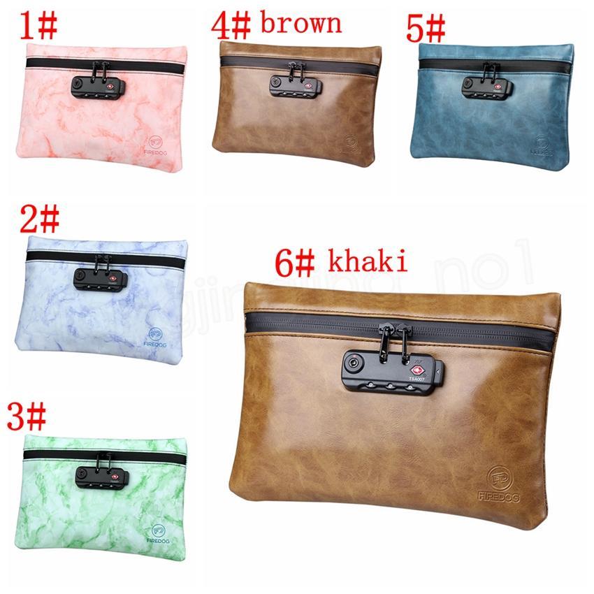 6styles Tütün Paketi ile Kilit Gizli Kilitleme Seyahat Taşınabilir depolama torbaları Kanıtı Çanta PU Deri Fermuar Deodorant Bags kokla FFA3816-5