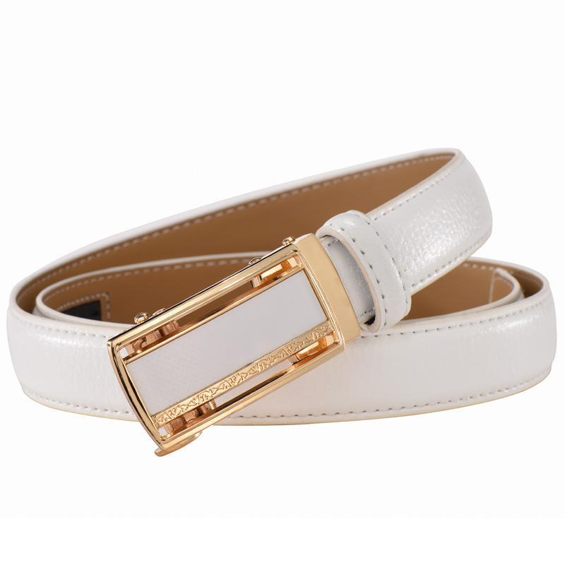 2020 moda genuína cintos de couro para mulheres Soild cinto automático cintura fivela para calças de brim vermelho, branco pasek Damski Niebieski Y200501