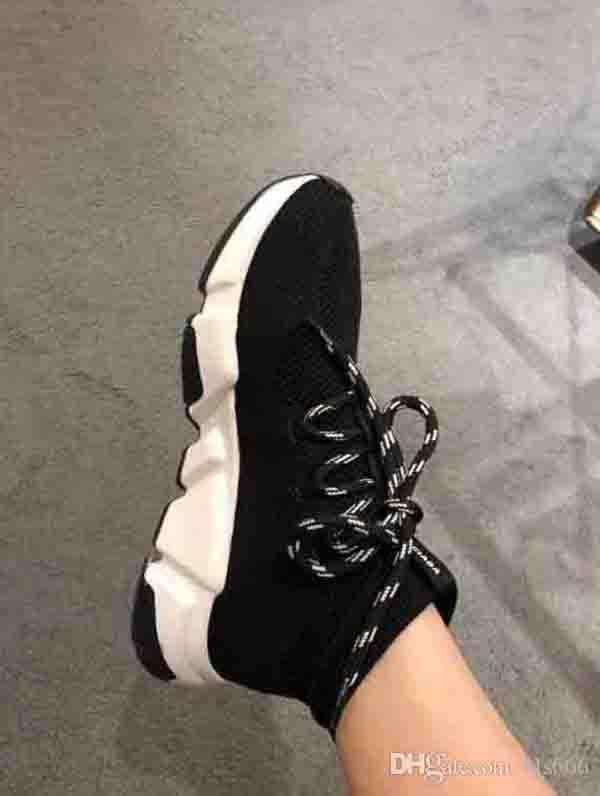 Box İle Yeni Paris Hız Eğitmenler Örme Çorap Ayakkabı Originals Lüks Tasarımcı Womens Sneakers Ucuz Yüksek Üst Kalite Günlük Ayakkabılar