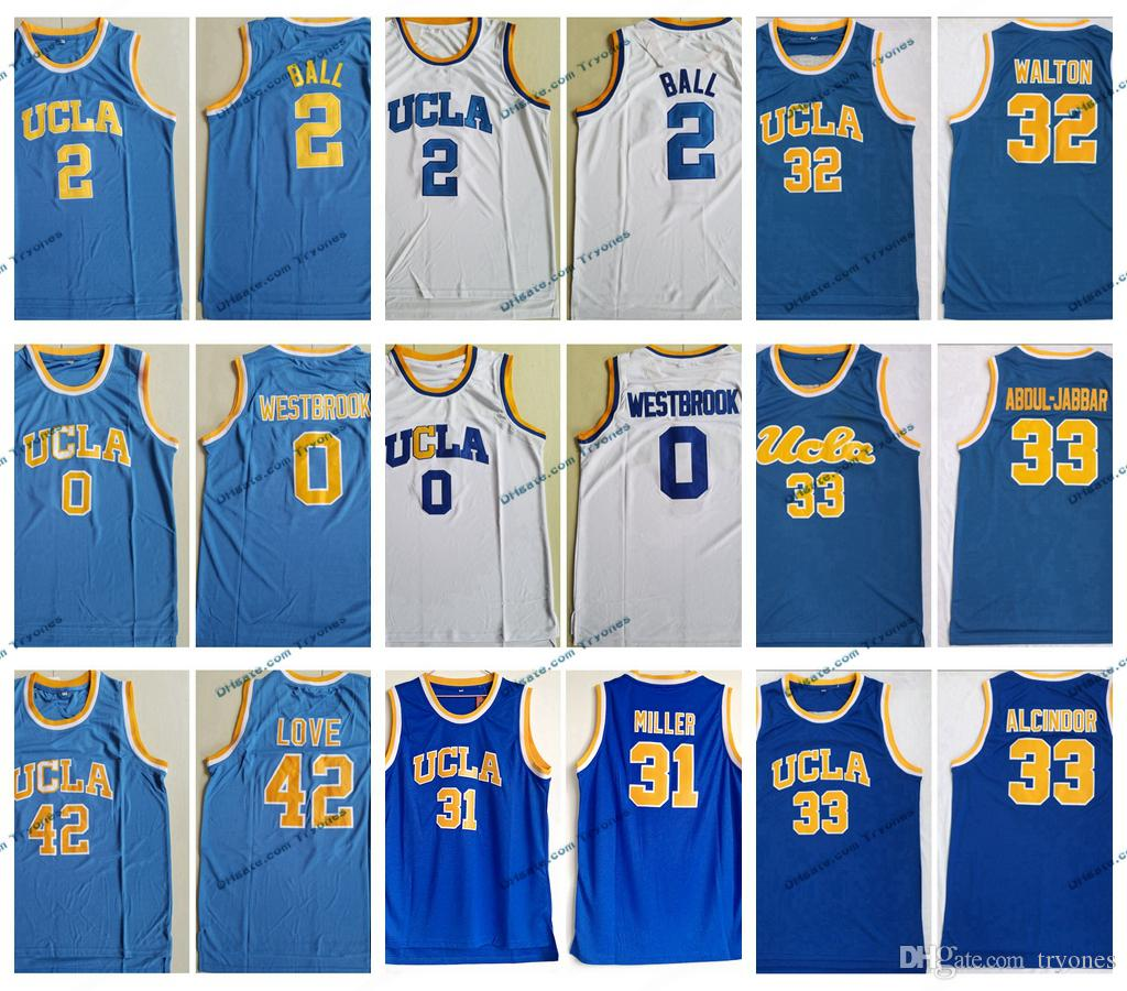Vintage UCLA Bruins-College-Basketball-Trikots Russell Westbrook Lonzo-Ball Kareem Abdul Jabbar Reggie Miller Bill-Walton-Blau-Shirts