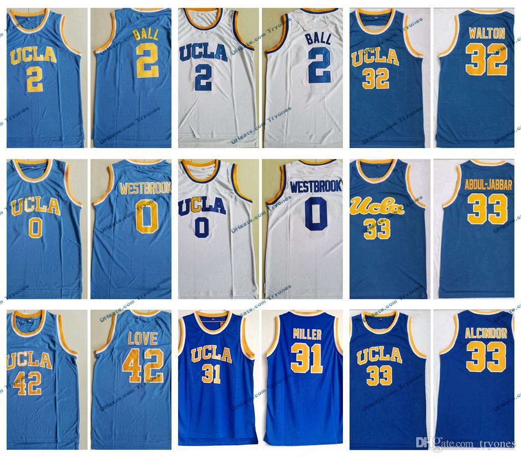 Vintage UCLA Bruins Faculdade Basquete Jerseys Russell Westbrook Lonzo Bola Kareem Abdul Jabbar Reggie Miller Bill Walton Azul Camisas