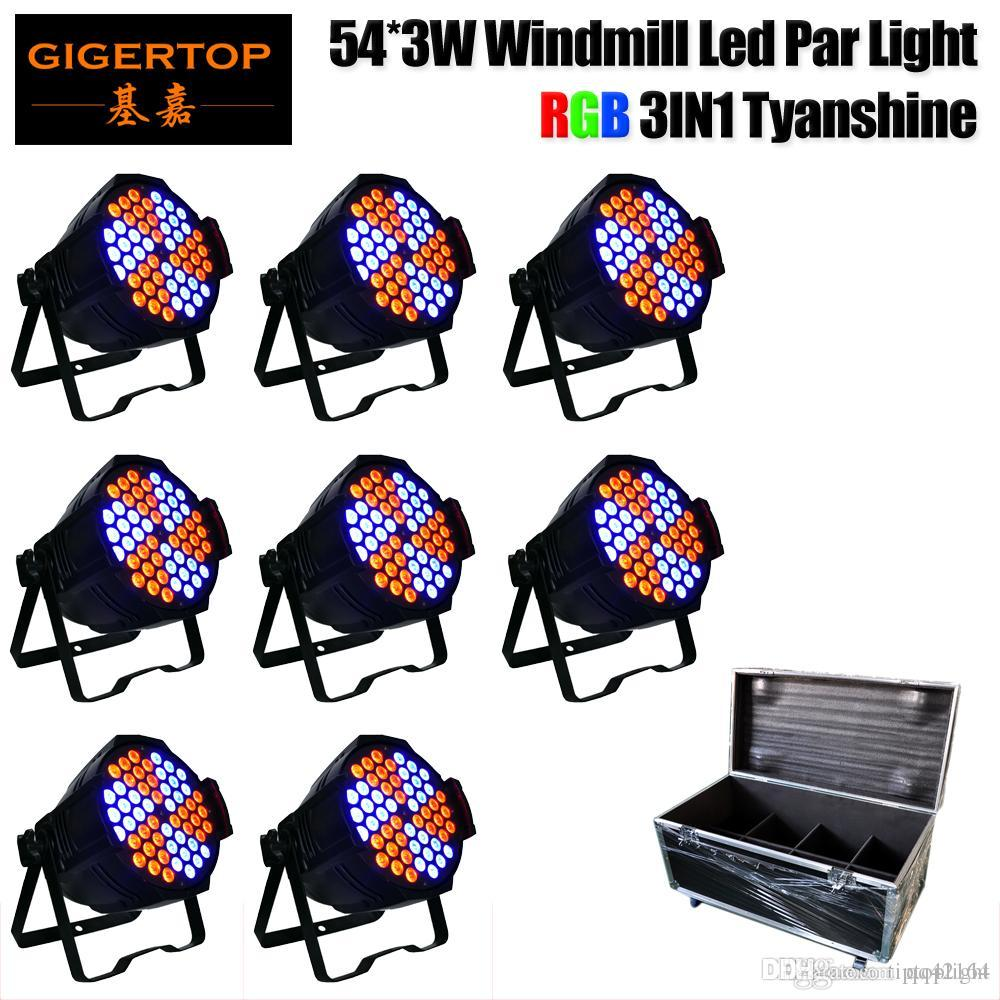 8in1 Hard Case Пакет 130W 54LED RGB Stage Light Flat Par Lamp Club DJ Party Disco DMX512 Control Color Rotation Мельница Эффект CE ROHS