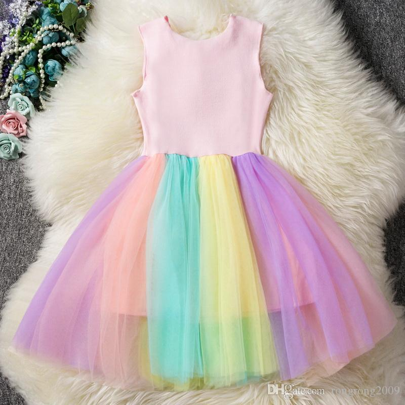 aa6139588082 ... Summer Caroon Dress For Girls Sequins Love Unicorn Princess Dress  Colorful Gauze Rainbow Dress 2- ...