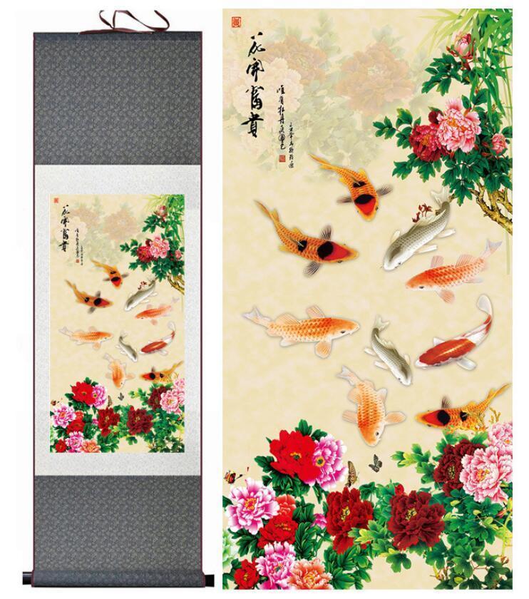 Peinture sur poisson peinture sur soie Art traditionnel peinture chinoise Neuf poissons jouant Art Paintingprinted Painting1906191147