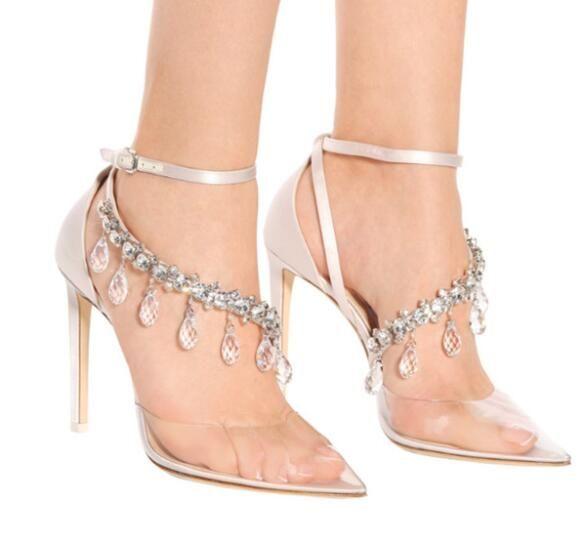2019 Senhoras Claro PVC Rhinestome Bombas de Cristal Sexy Buckle Strap Bombas de Salto Alto Sapatos de Festa de Casamento de Designers de Luxo Mulheres