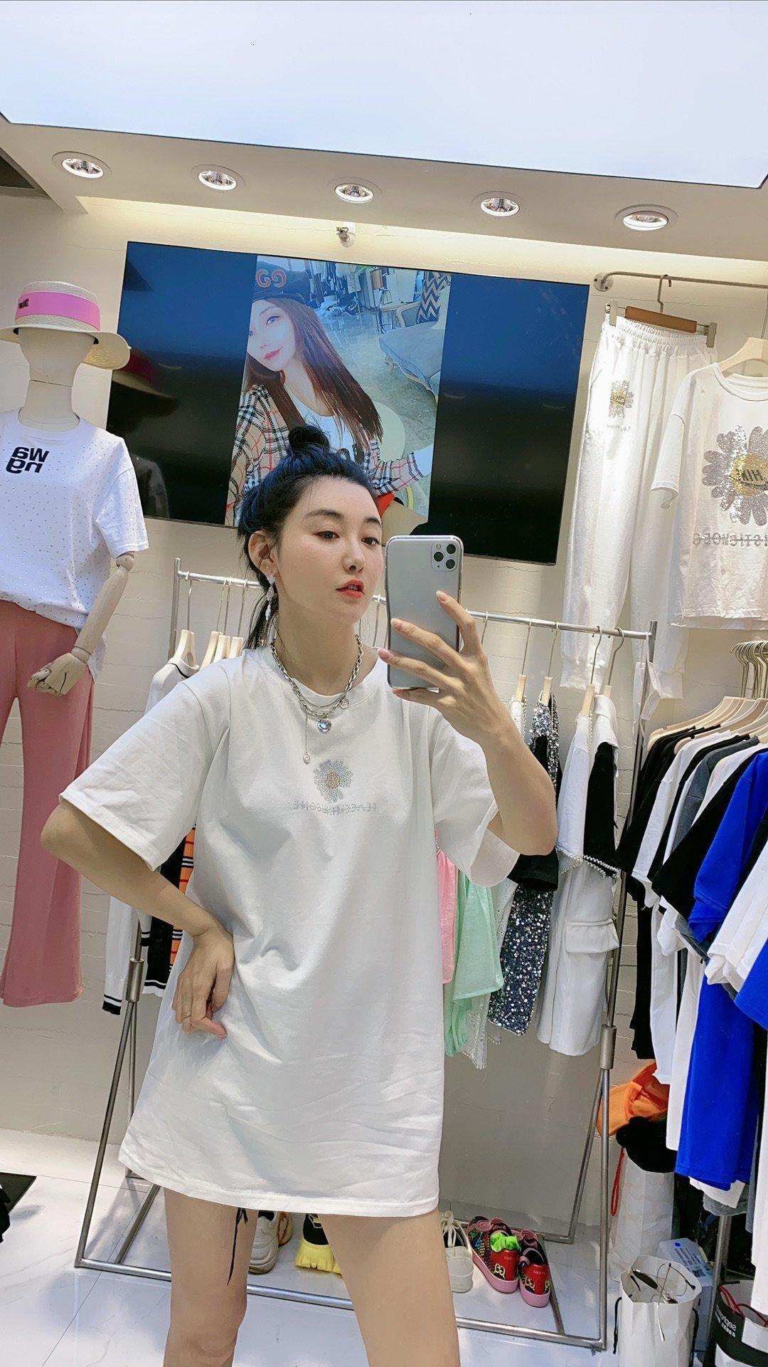 2020 yüksek kaliteli yeni bayanlar kısa kollu üst yaz gömlek moda tişört iyi bayan giyim FFE3