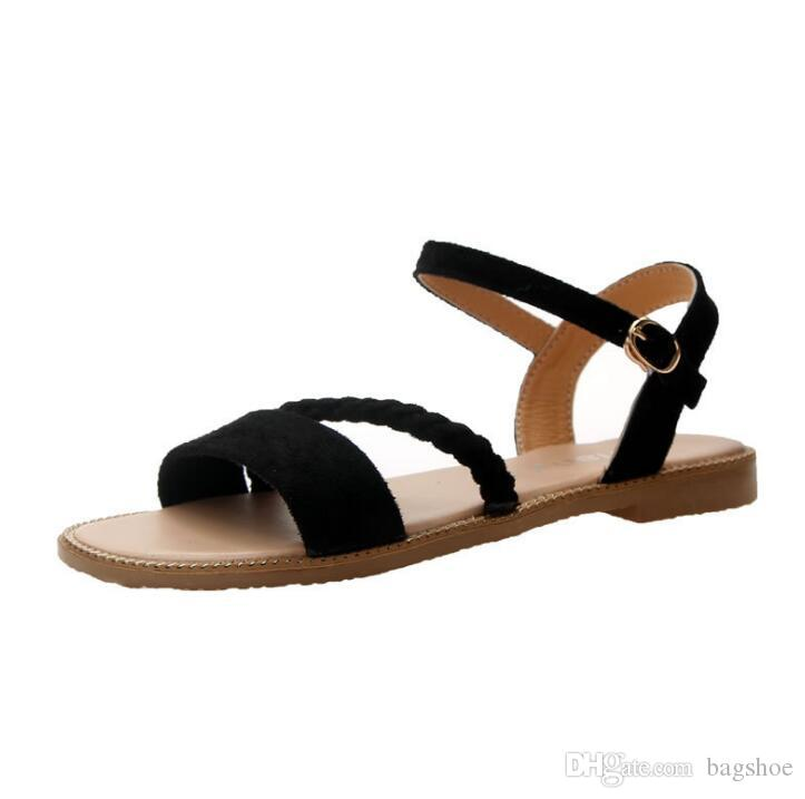 New summer Korean version of the wild casual Roman shoes open toe sandals one word flat flat Rome shoes women