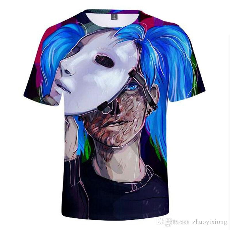 Venta al por mayor de Sally cara 3D de ancho completo estampado Harajuku hip hop hombres y mujeres de cuello redondo camiseta de manga corta amantes de la camisa de alta calidad