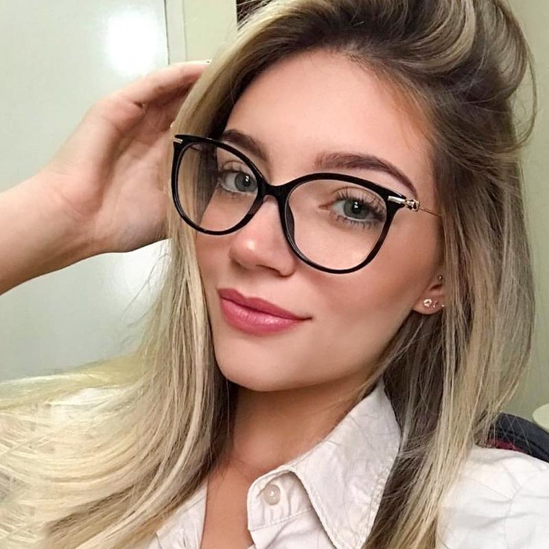 MULHERES Optical óculos preto Frames Plain vidro Brand Design Gato retro prescrição clássico óculos FML Quadro