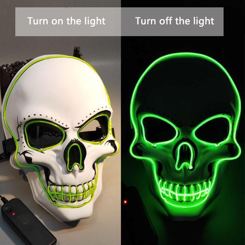 Cráneo que brilla máscara de la máscara del partido del traje de LED del tema del horror Máscaras Cosplay EL cable de Halloween Halloween Party Supplies caliente de la venta