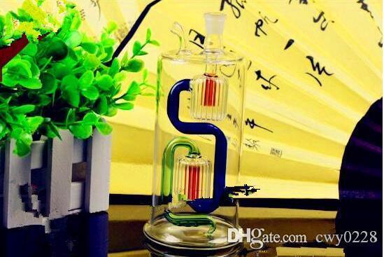 Botella de agua circulante de filtración doble Venta al por mayor Bongs de vidrio Quemador de aceite Tubos de agua de vidrio Plataformas de aceite Fumar gratis
