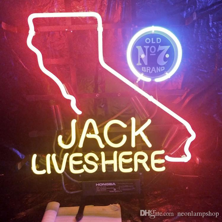 JACK VIVE AQUI LEVOU Luz de Sinal de Néon Personalizado Ao Ar Livre Bar Exibição de Entretenimento Decoração Lâmpada de Néon Luz Moldura De Metal 17 '' 20 '' 24 '' 30 ''