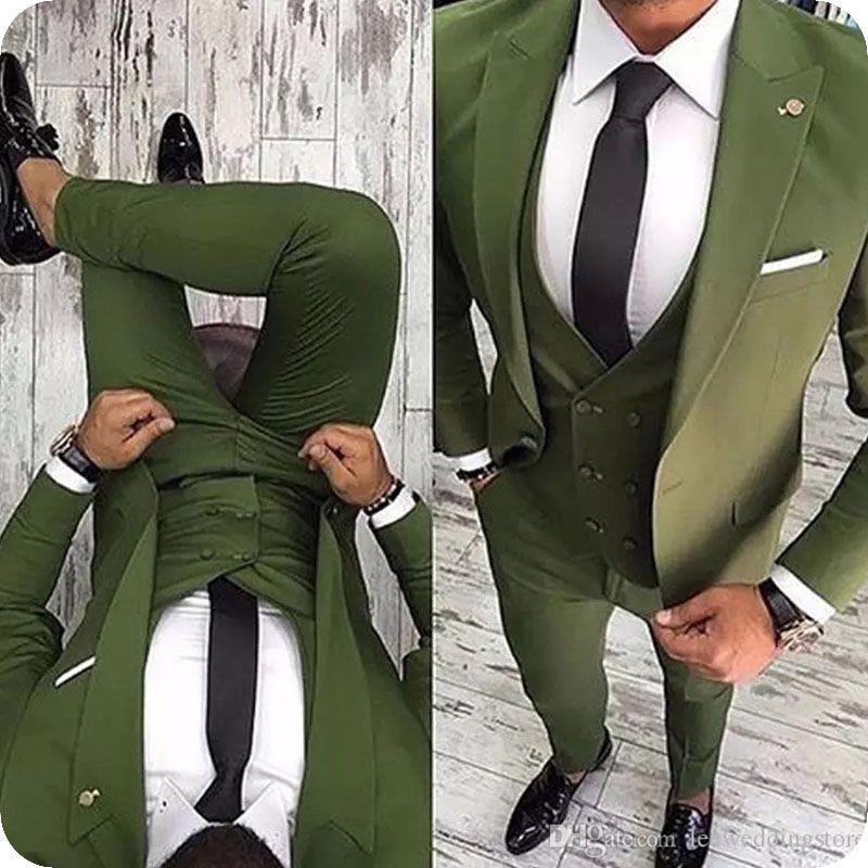 Gutaussehend Maß Armee-Grün Männer Klagen für Hochzeitsanzüge Geschäft Slim Fit beiläufigen Smoking-Bräutigam-Abschlussball Besten Mann Blazer (Jacket + Pants + Vest)