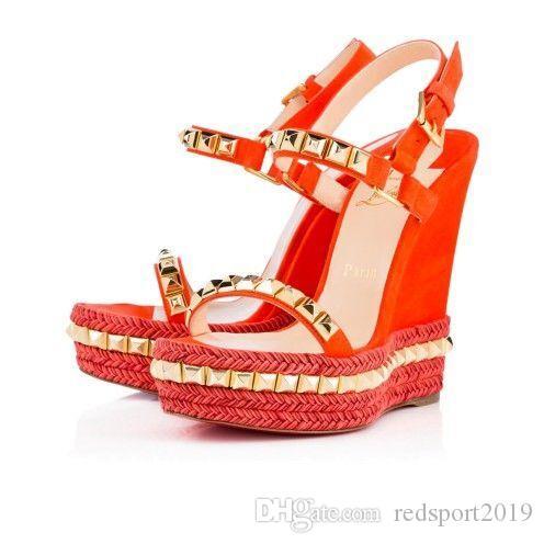2020 Seksi Yaz Çivili Cataclou Espadrille Kama Bayanlar Gladyatör Sandalet Yüksek Topuklu kadın Kırmızı Alt Ayakkabı Yüksek Kalite Zapatos Mujer