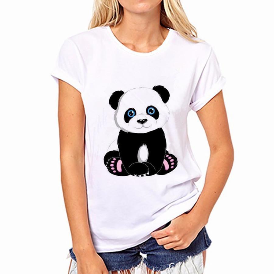 Pure Cotton T-Shirt Summer Selling Fashion Round Collar T Shirt Adorable Panda Cute Tshirt Women Kawaii Clothes Casual Breathable