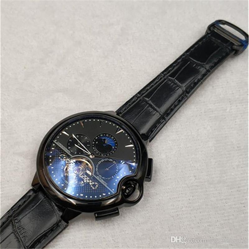 럭셔리 자동 남자 시계 고품질 42mm 브랜드 최고 정품 가죽 기계식 파란색 풍선 시계 캐주얼 남성 시계 relogio