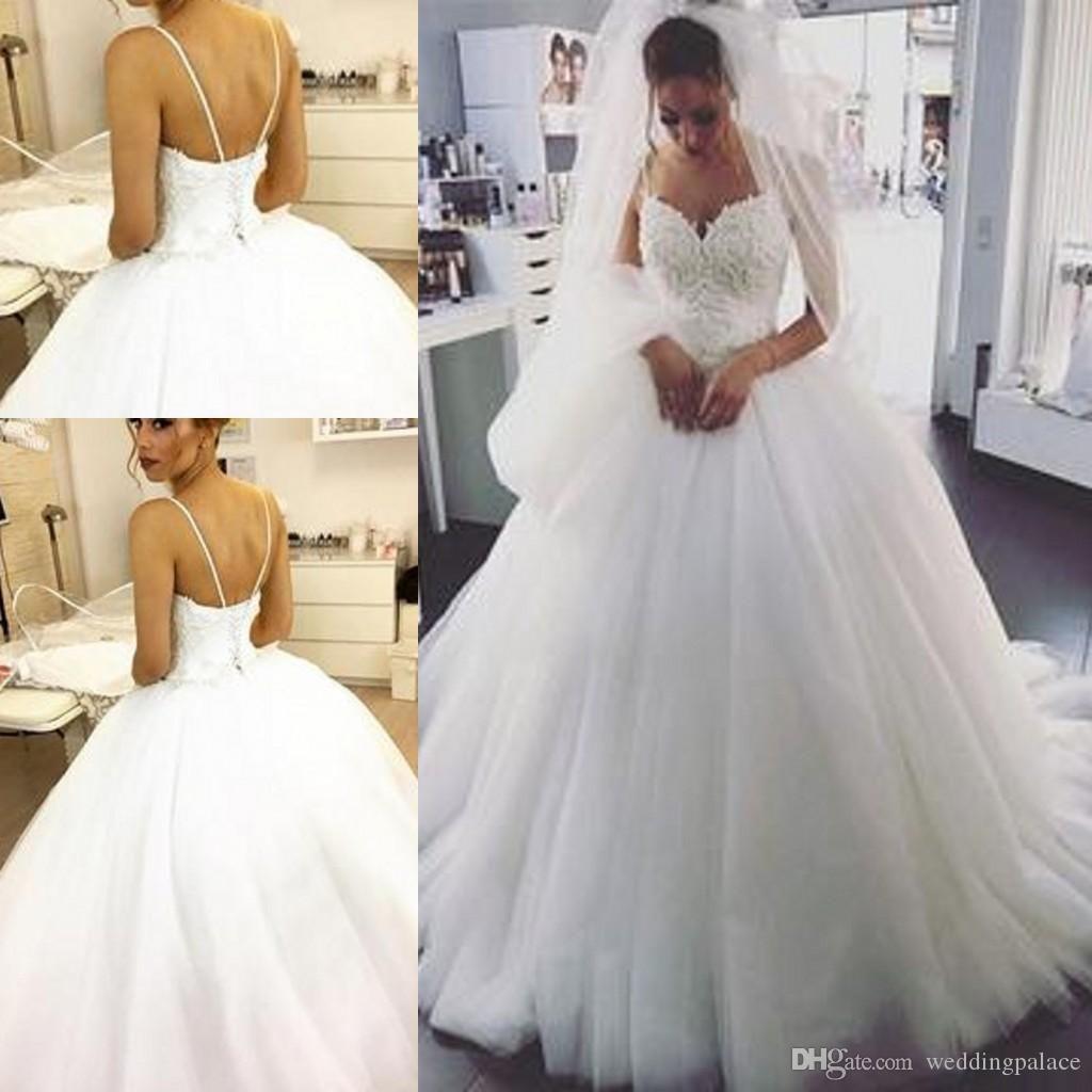 2020 Elegante A Linha De Vestidos De Noiva Espaguete Pérola Bordado Frisado Querida Tule Princesa Backless Lace UP vestido De Baile Vestidos De Casamento