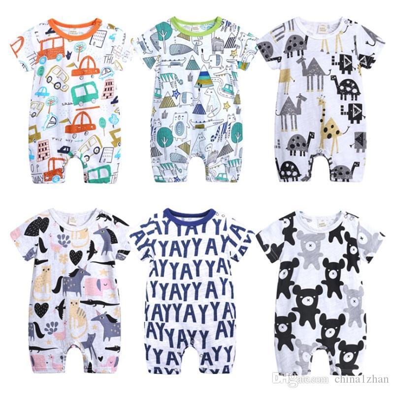 Babyspielanzug Cartoon Doodle Boy Overalls Kurzarm Mädchen Strampler Casual Infant Klettern Kleidung Sommer Kinder Kleidung 6 Designs DHW1941