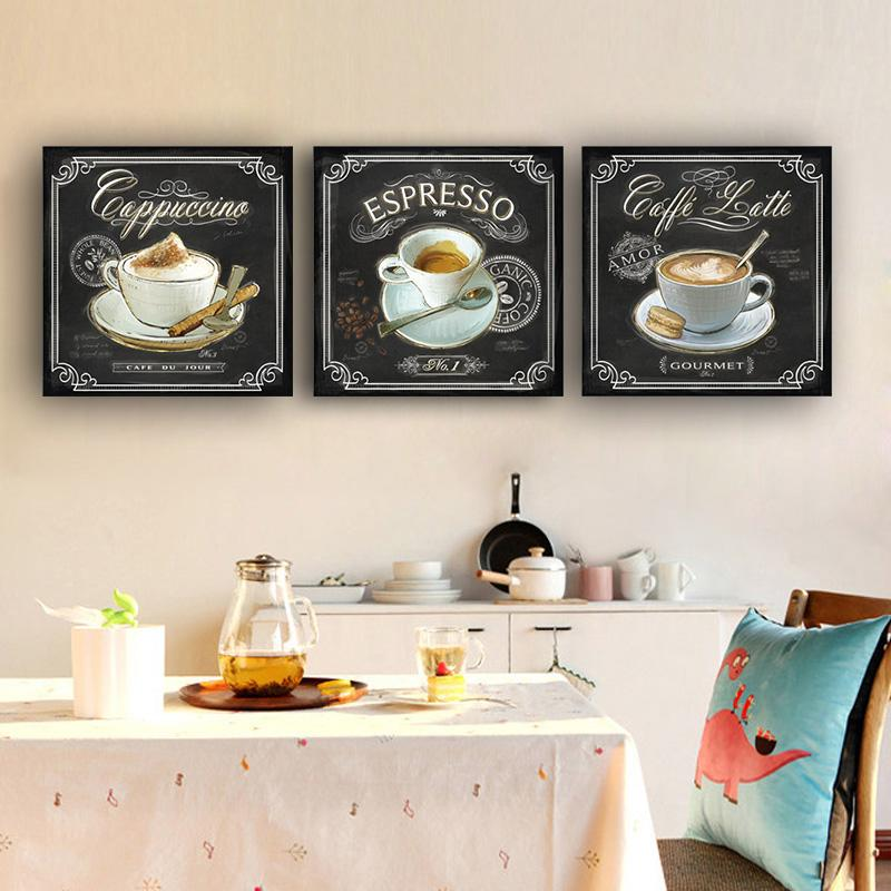 3Pcs Kitchen Vintage Coffee Posters and Prints Wall Art Pictures Painting Wall Art for Living Room Home Decor (No Frame)