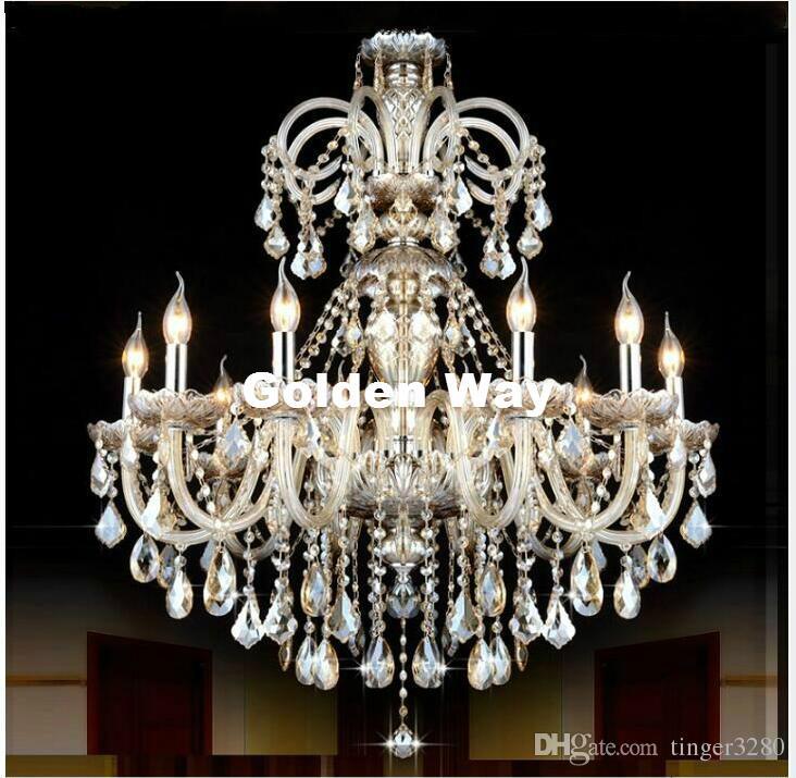 Frete grátis Cognac Cor lustre de cristal pingente luzes do candelabro Luminárias Hotel Crystal iluminação da lâmpada longa escadaria Candelabro Luz