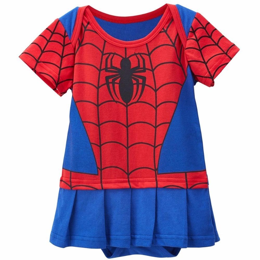Baby Girls Romper Dresses Bebe Spiderman Batman Costume Infant Cute Bodysuit DC Superhero Party Cosplay Dress
