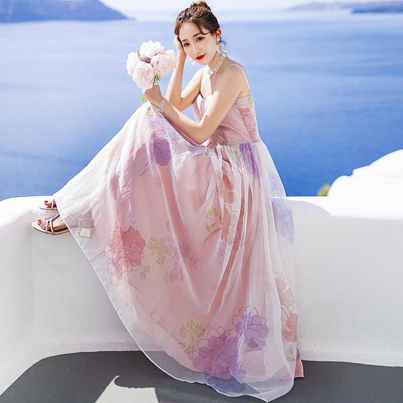 Floral-elegante Frauen-Kleider-Druck-Kleid-Rosa-Spaghetti-Bügel Süße Strand-Feiertag Wedding Prom Dinner Date mit Charme Einzigartige 1329