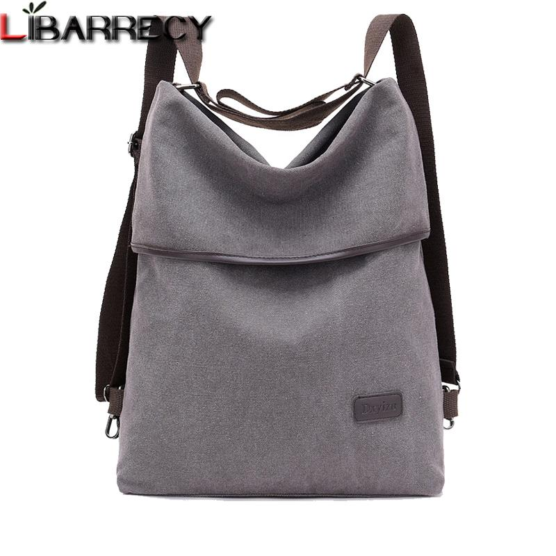 Fashion Women Backpack Simple Canvas Backpack Large Capacity Bookbag Waterproof Anti Theft Travel Backpack Mochilas Mujer 2018 Y19051405