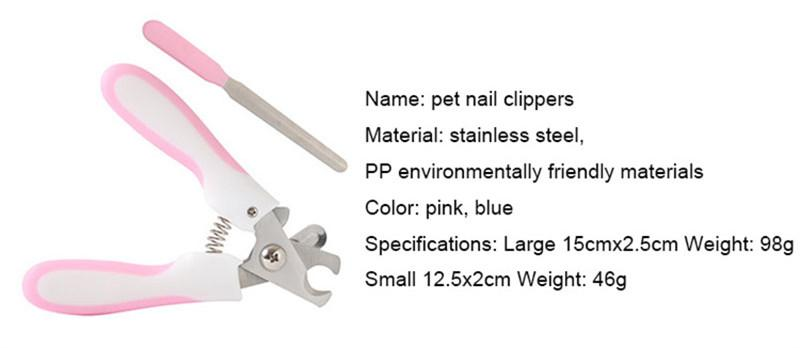 Pet Toe Care Stainless Steel Dogs Cats Claw Nail Clippers Cutter Nail File Portable Scissors Trim Nails Pet Products