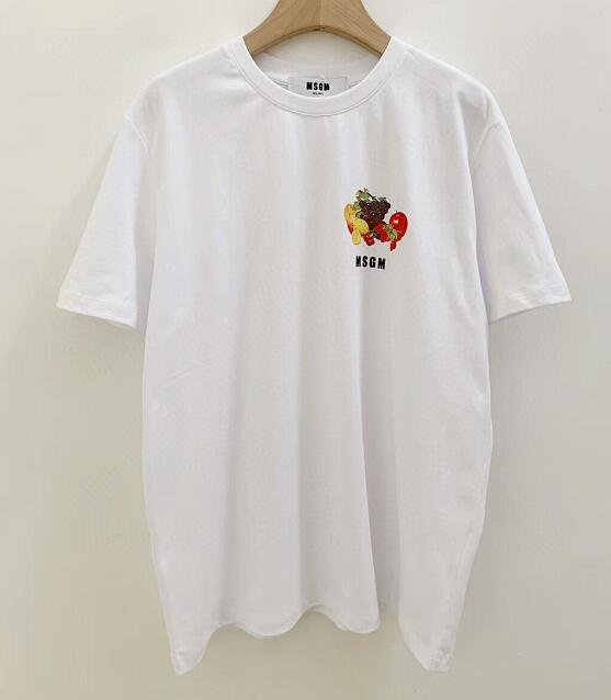 Женщины фрукты шаблон сплошной принт MSGM футболка с коротким рукавом свободные высокое качество темперамент одежда тройник размер S-L