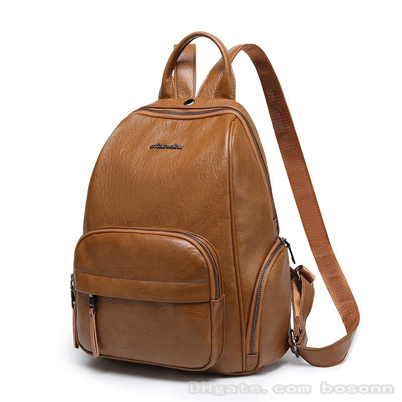 Genuine leather Backpack Laptop Bag School bag bookbag designer bag brown black