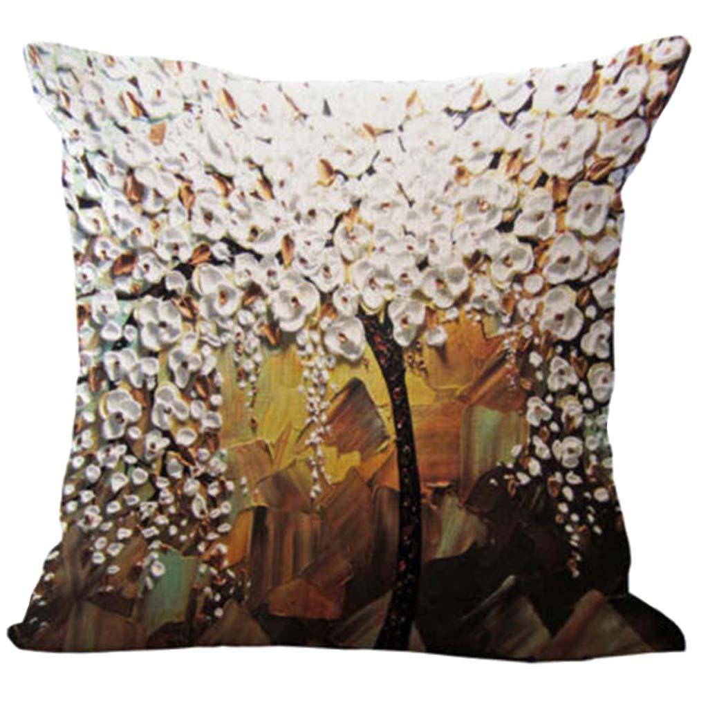 Three-dimensional Oil Painting Tree Flower Cushion Cover Pillow Case