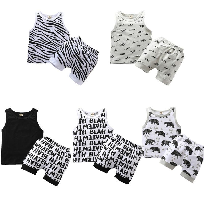 2020 Infante recém-nascido Meninos Roupa dos desenhos animados Imprimir mangas Vest Tops + Shorts 2pcs Sets 0-3Y