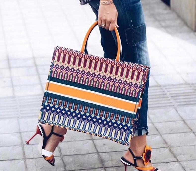 2019 mode Bunte jacquard leinwand handtasche einkaufstasche leinwand stoff doppelgriff design große schultergurt Große kapazität crossbody