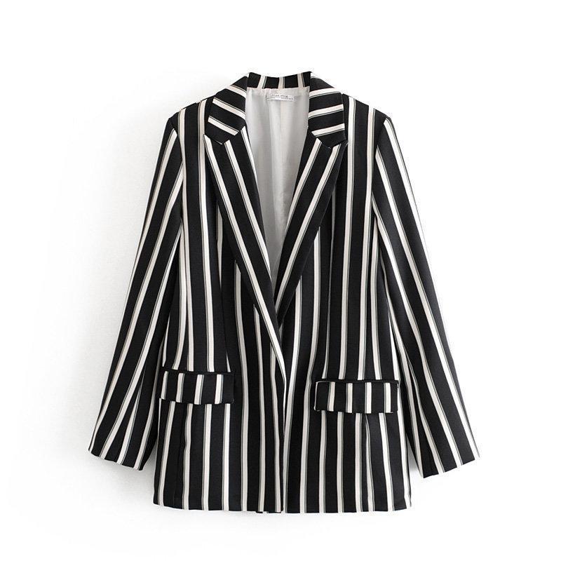 Moda Kadın DT75-27340 Avrupa ve Amerikan rüzgar yeni takım elbise siyah ve beyaz çizgili eğlence takım elbise ceket