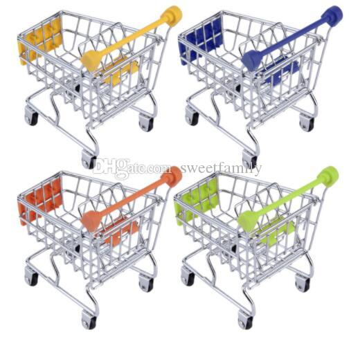 Hot Fashion Mini Supermarket Hand Trolleys Mini Shopping Cart Desktop Decoration Storage Phone Holder Baby Toy New 120pcs/lot