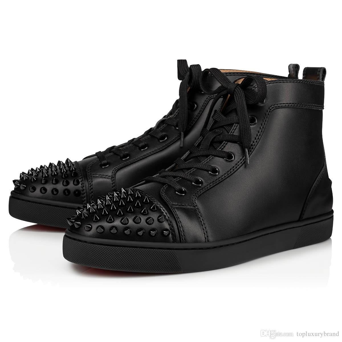 أزياء العلامة التجارية الأحمر نعال أحذية الرجال الأحذية المرصعة المسامير شقق أحذية القاع الأحمر لمحبي الرجال والنساء حزب احذية جلدية حقيقية