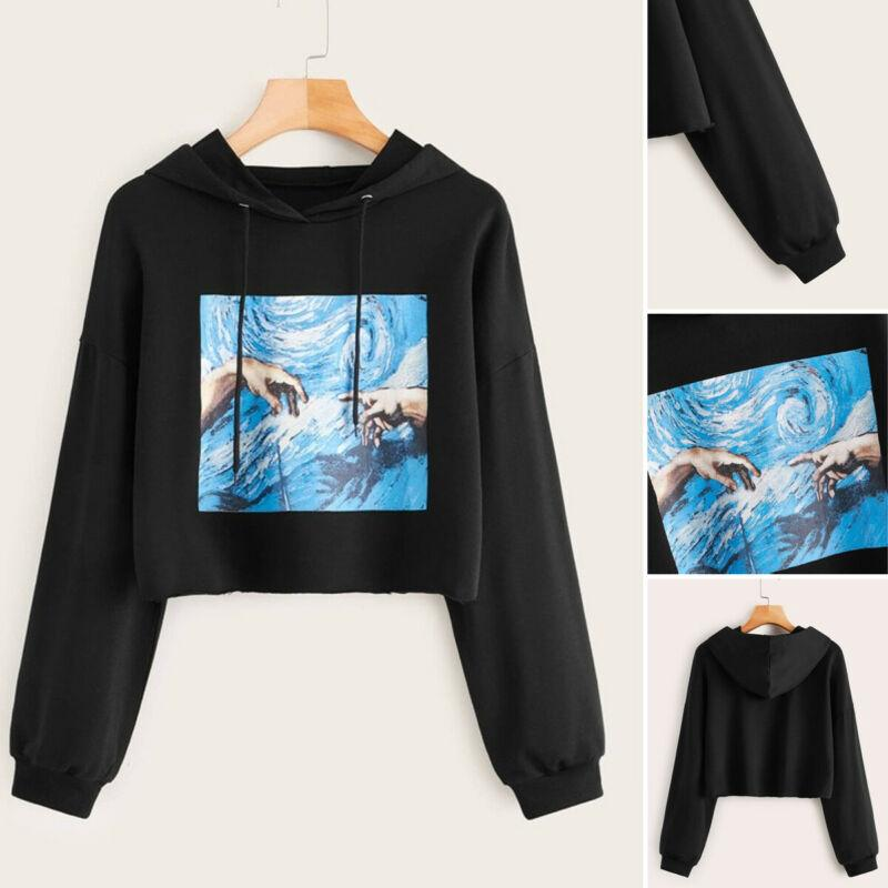 Tee shirt exercice Sweat-shirt Pull Top Sport Hauts Imprimer capuche manches longues Sweat Sport