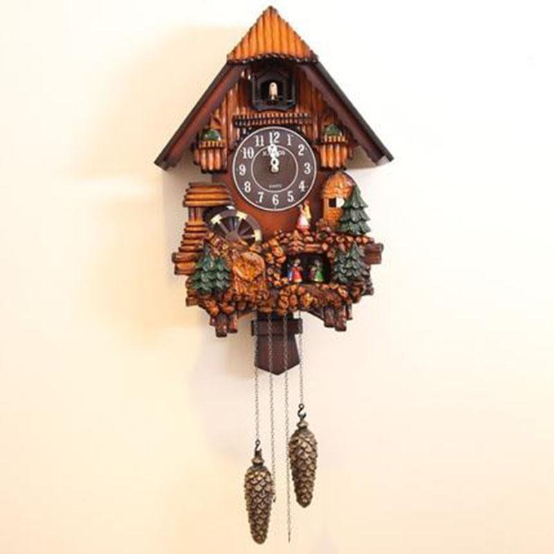 Horloges Creative Cuckoo Horloge murale Pow Salon des oiseaux Musique Horloges murales Montre Mécanisme Relogio Parede Idées cadeaux Horloge