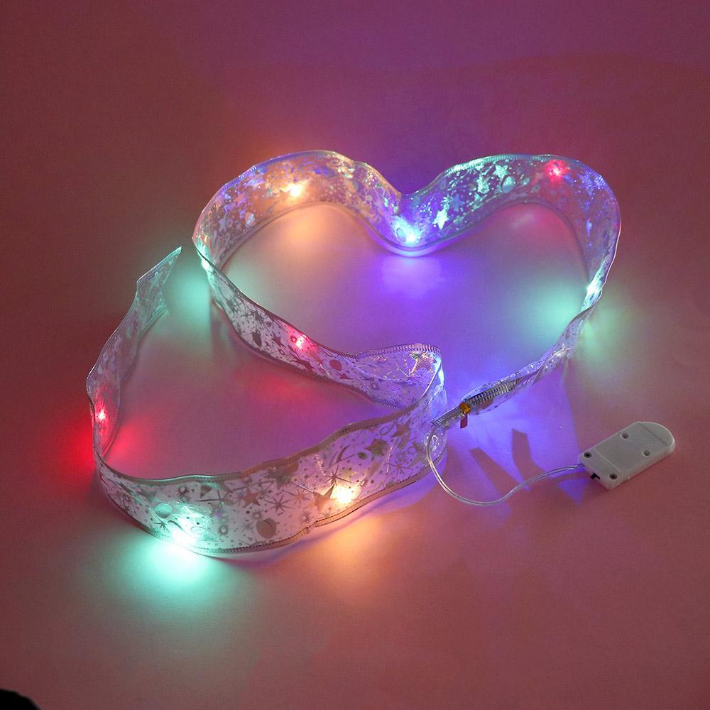 Cinta con luz LED Bronceado Cintas de doble capa para decoración de árboles de Navidad Cinta decotativa de Navidad LED