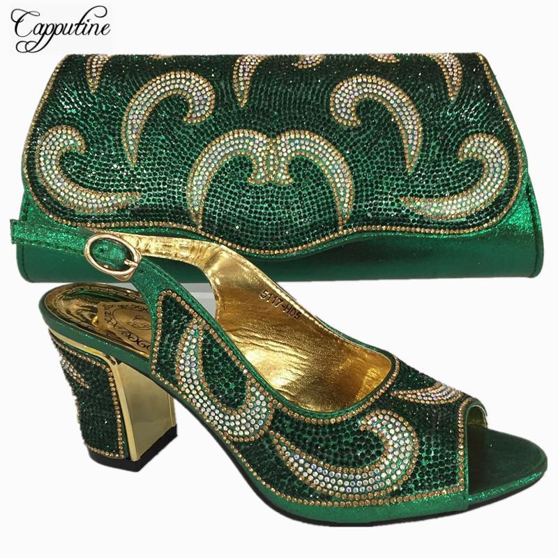Zapatos Capputine New Italian color oro y monedero Conjunto de Nigeria decorada con los zapatos del partido de las mujeres del Rhinestone y la bolsa Conjunto BL735C