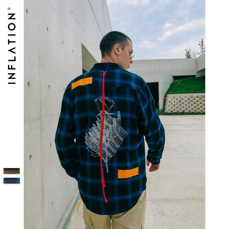 INF Men's Wear | 2019 New High Street Persönlichkeit Arc Hem Red Rope Loose Gestickte Plaid Herren Revers Shirt