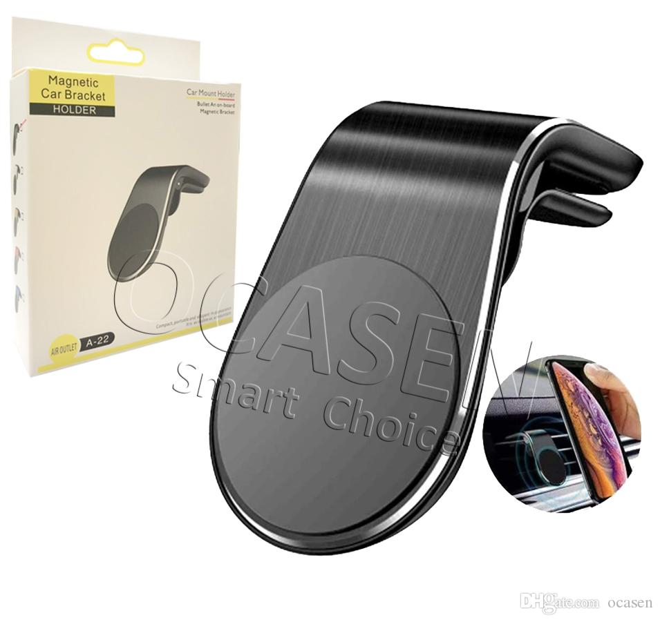 Newest Strong Magnetic Car Air Vent Mount 360 Degree Rotation Universal Mobile Phone Holder With Package Free DHL Shipping