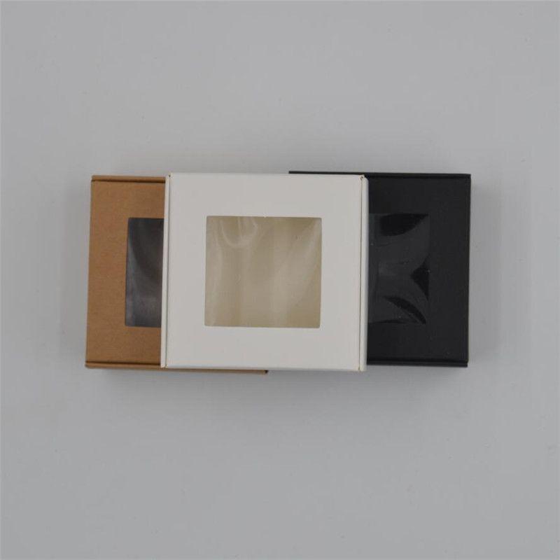 100pcs التي الجملة ورقة هدية مربع ، أسود مربع ورق الكرافت التعبئة والتغليف ، مربع الصابون اليدوية مع نافذة ، وصناديق الحلوى البيضاء 4 أحجام