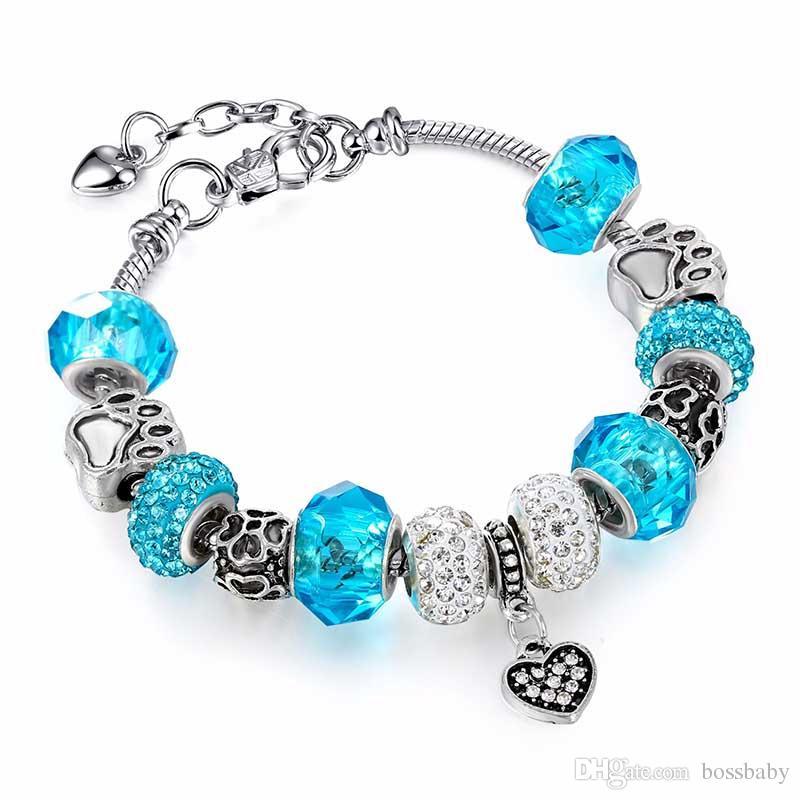 Four-leaf Clover Bracelet Girl Jewelry Alloy Large Hole Beads Footprint Bead Bracelet Silver Plating Radiation Protection 40