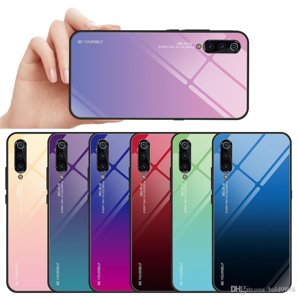 Ausgeglichenes Glas-Kasten für XIAOMI Mi 9 9SE Mix 3 8 8 Lite MI 6X 5X Gradient Farbe für Redmi MI7 Abdeckungs-Fall